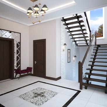 Дизайн интерьера лестничного холла в классической стилистике.