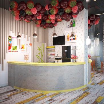 Интерьер детского кафе-караоке в креативном стиле.