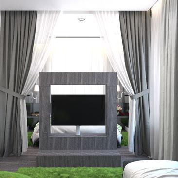 Зонирование комнаты на спальню и гостиную с помощью штор-перегородок.