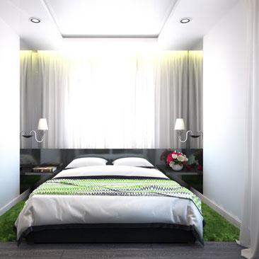 Дизайн спальни в небольшой квартире.