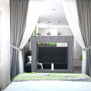 Спальня без двери в квартире-студии.