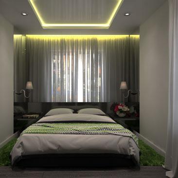Ночная световая подсветка в спальне - дизайн-проект, фото.