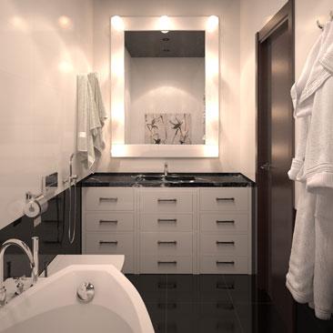 Черный потолок в ванной.