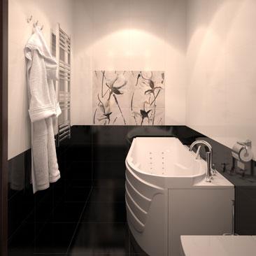 Контрастный дизайн в ванной комнате.
