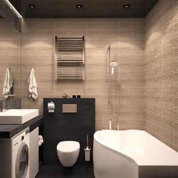3д, черно-белая ванная комната дизайн.