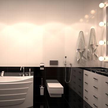 Черно-белая ванная комната дизайн фото.