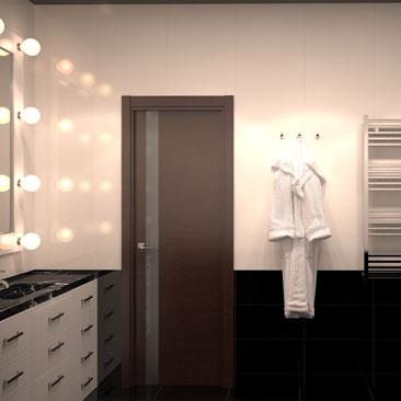 Монохромная ванная, совмещённая с туалетом, фото.