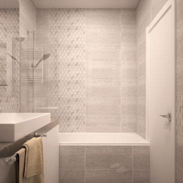 Фото: ванные комнаты c серо-бежевыми стенами.