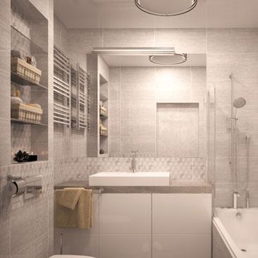 Дизайн ванной комнаты в бежевом цвете.