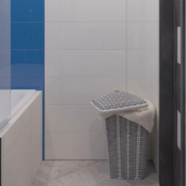Бело-синий интерьер ванной.