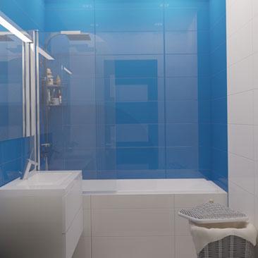 Интерьер голубой ванной комнаты.