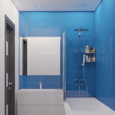Голубая ванная комната - дизайн-проект интерьера.