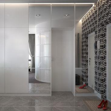 Интерьер и дизайн прихожей-гостиной в одном помещении - фото.
