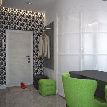 Дизайн интерьера холла с гостиной.