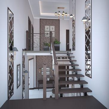Дизайн межлестничной площадки в частном доме.