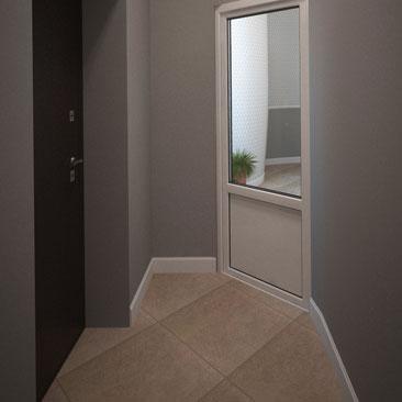 Дизайн интерьера холла в офисе, стиль - минимализм.