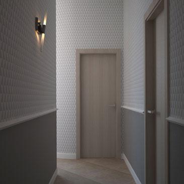 Как оформить дизайн узкого коридора в офисе.