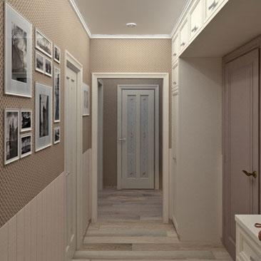 Холл. Квартира. Проект. Черно-белые картины.