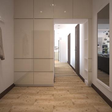 Холл. Квартира. Проект. Много шкафов.