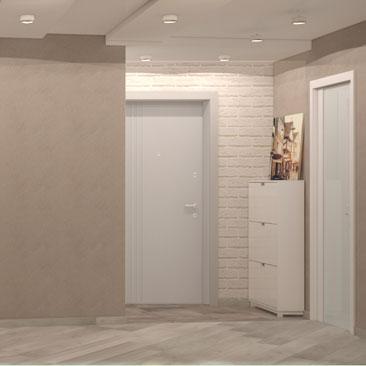 Холл. Квартира. Проект. Нежные цвета.