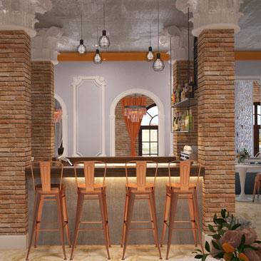 Барная зона в центре кафе - фото, проект, дизайн.