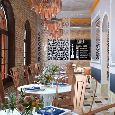 Дизайн кафе-бара с кальянной зоной