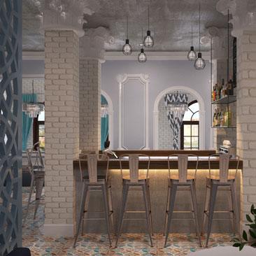 Яркий запоминающийся дизайн кафе с баром и чилаутом