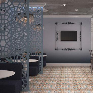 Элегантный дизайн интерьера кафе - проект, фото.