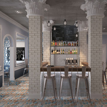 Дизайн интерьера кафе в стиле Лофт и Фьюжн.