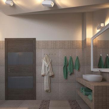 Ванная в коттедже - дизайн, проект.
