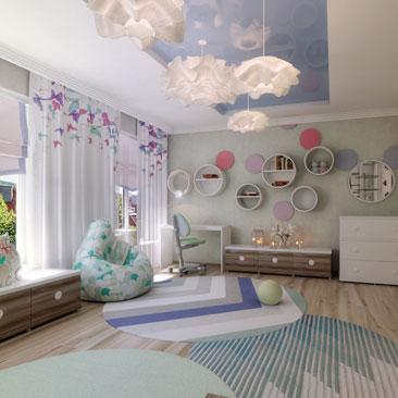 Бабочки на шторах. Дизайн детской.