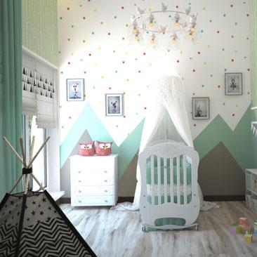 Комната для новорожденного, дизайн, проект, 3д.