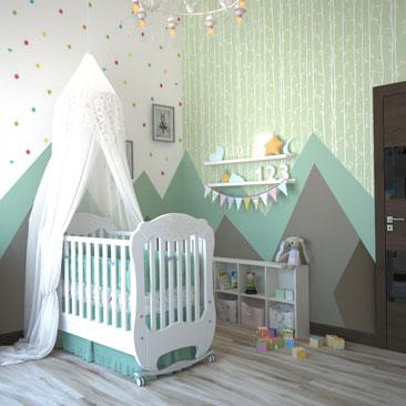 Дизайн интерьера комнаты для новорожденного - проект.