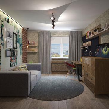 Подростковая комната - интерьер, галерея проектов.