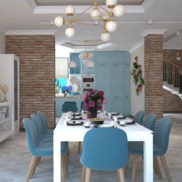 Большая кухня-столовая - пример проекта.