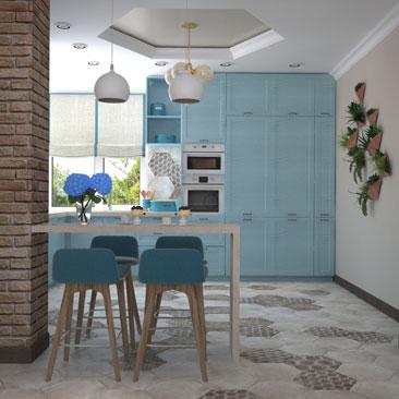 Кухня в голубых тонах с барной стойкой - фото, дизайн.