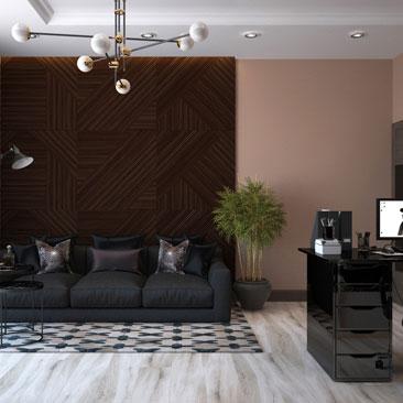 Дизайн интерьера кабинета руководителя мужчины.