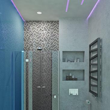 Космический интерьер - дизайн ванной.