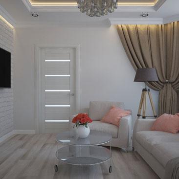 Гостиная со светлой мягкой мебелью.
