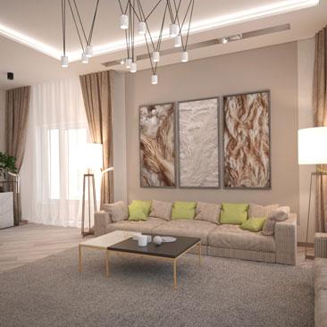 Гостиная с большими картинами в интерьере.