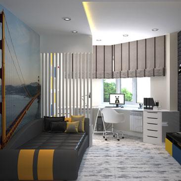 Спальная комната для подростка - проект за июль 2017 года.