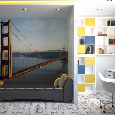 Подростковая комната с фотообоями - дизайн, интерьер, проект.