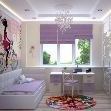 Детская комната с цветами и бабочками - дизайн, интерьер, проект.