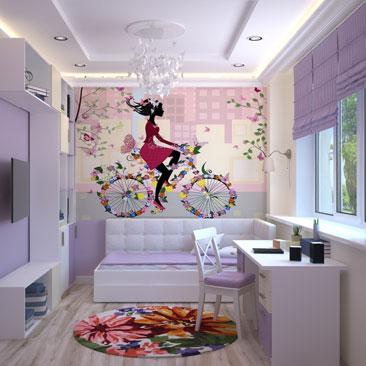 Детская комната с лиловыми и розовыми акцентами для девочки - дизайн, интерьер, проект.