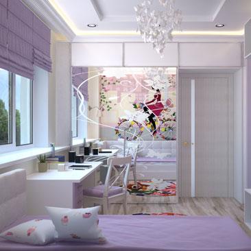 Детская комната с бабочками - дизайн, интерьер, проект.