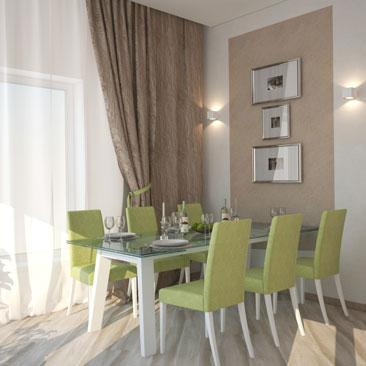 Дизайн кухни-столовой-гостиной: столовая группа оливкового оттенка.