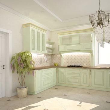 Мятная кухня – проект дизайна, фото.