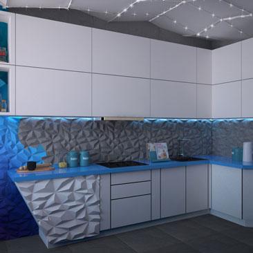 Космический стиль в современном дизайне интерьера кухни в квартире.