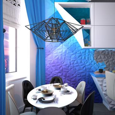 Дизайн кухни квартиры в космическом стиле.