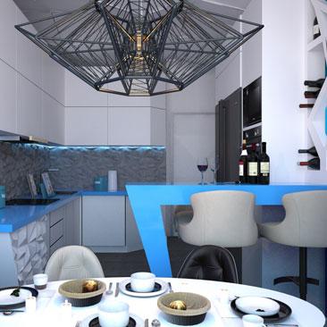 Проект кухни в стиле космос фото.